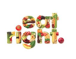 """Eat Healthy"" spelled out in fruit and vegetables"