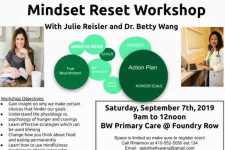 MINDSET RESET Workshop with Dr. Wang and Julie Reisler on Sept 7th!